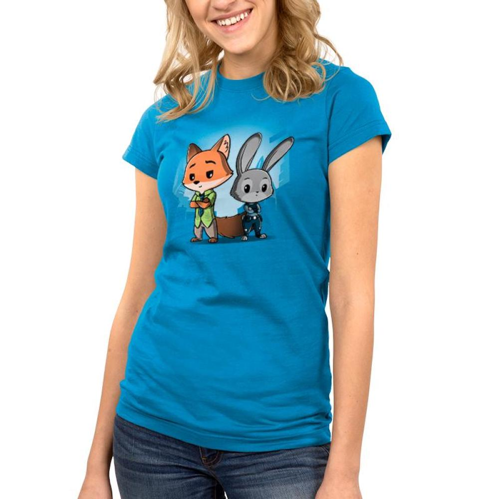 Nick Wilde & Judy Hopps Juniors T-shirt model Disney TeeTurtle blue t-shirt featuring nick wilde and judy hoppes from Zootopia standing side by side