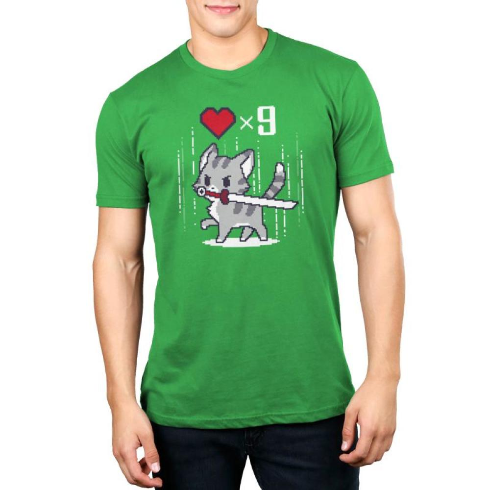 Nine Lives Men's T-Shirt Model TeeTurtle green t-shirt featuring a gray cat holding a sword in its mouth with a