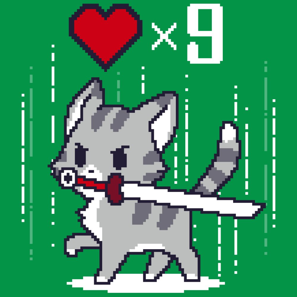 Nine Lives T-Shirt TeeTurtle green t-shirt featuring a gray cat holding a sword in its mouth with a