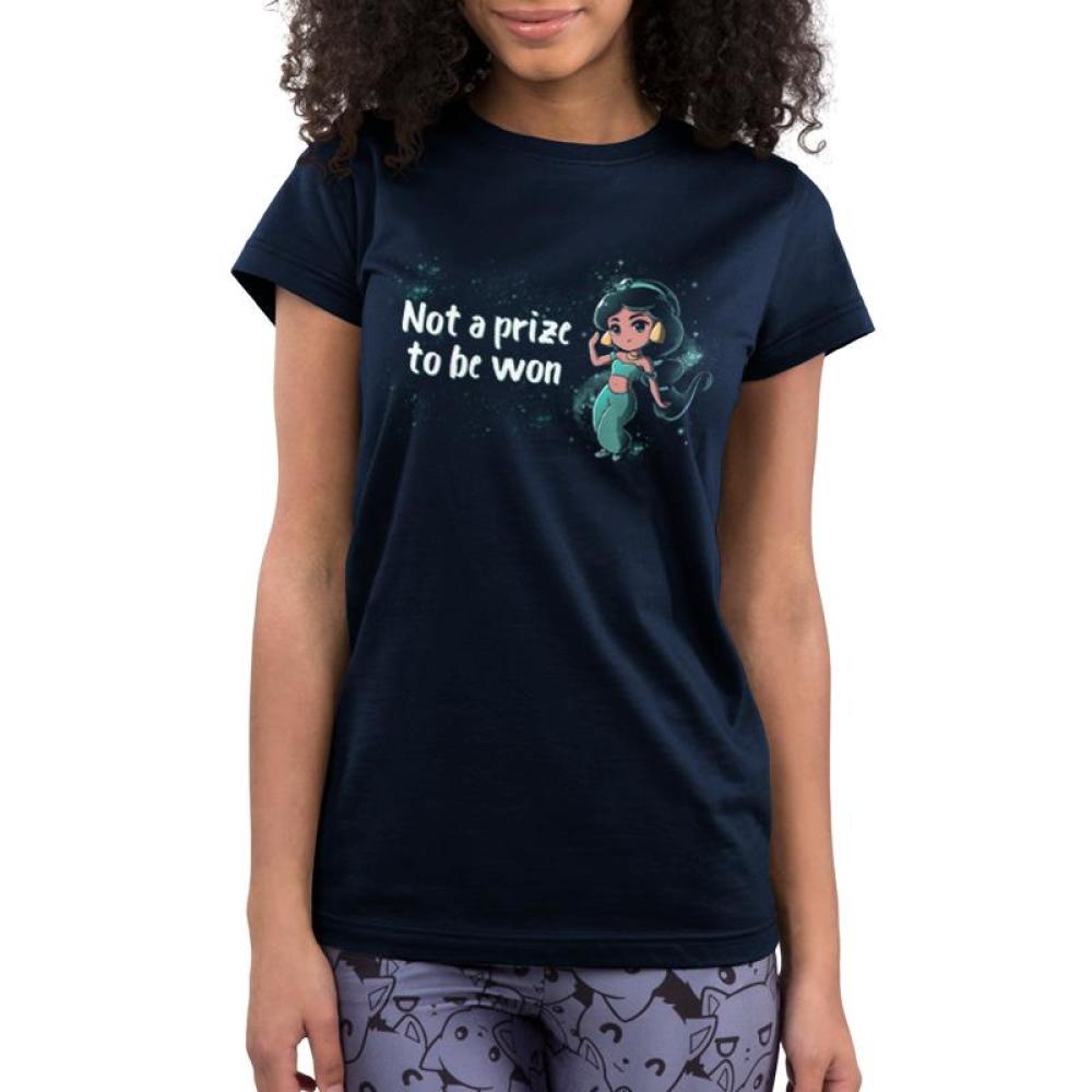 Not a Prize to Be Won Juniors T-Shirt Model Disney TeeTurtle black t-shirt featuring Princess Jasmine from Aladdin with shirt text