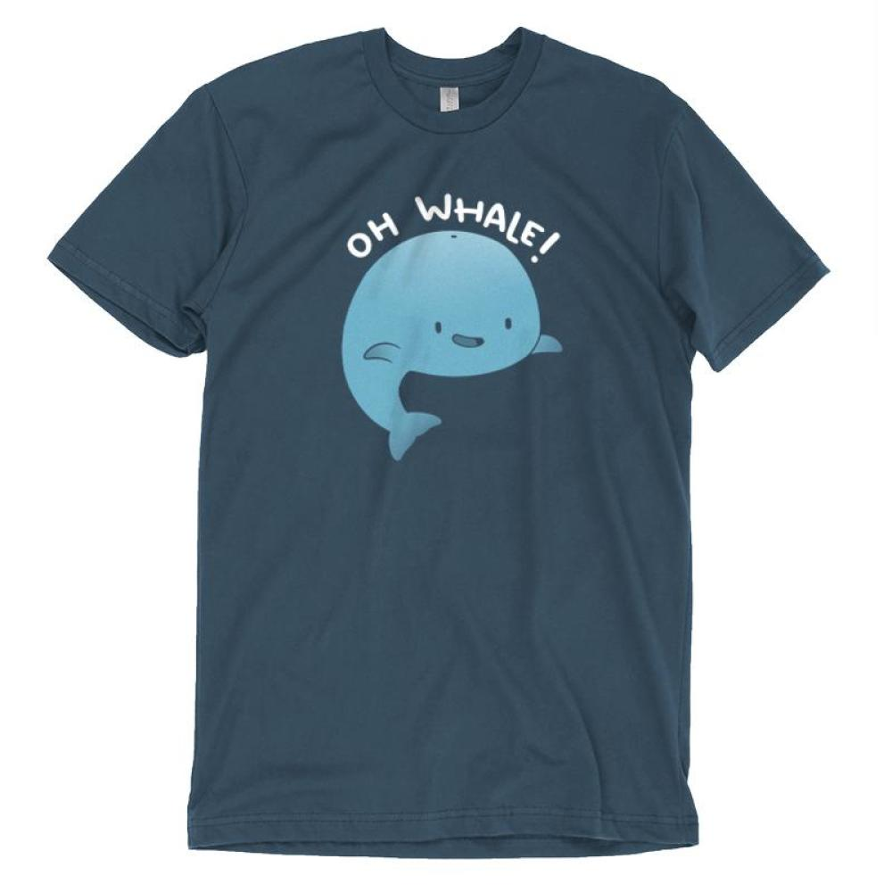 Oh Whale T-Shirt TeeTurtle blue t-shirt featuring a big blue smiling whale with shirt text