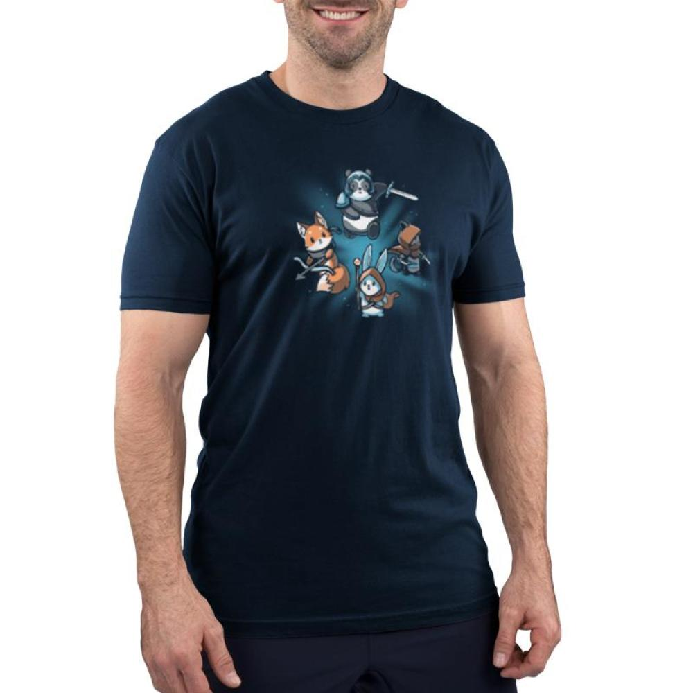 Party Animals Men's T-shirt Model TeeTurtle Blue t-shirt featuring a fox, cat, bunny, and panda all dressed up and carrying different gear such as a sword, bow and arrow, etc.
