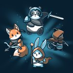 Party Animals T-shirt TeeTurtle Blue t-shirt featuring a fox, cat, bunny, and panda all dressed up and carrying different gear such as a sword, bow and arrow, etc.