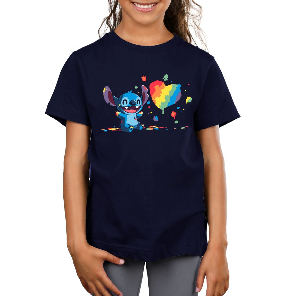 Paw Painting Kid's T-Shirt Model Disney TeeTurtle black T-shirt featuring Stitch from Lilo & Stitch covered in paint while painting a picture of a heart