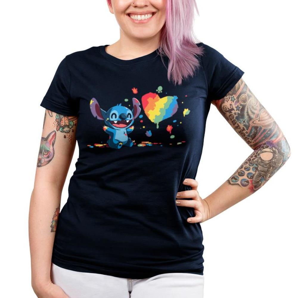 Paw Painting Juniors T-Shirt Model Disney TeeTurtle black T-shirt featuring Stitch from Lilo & Stitch covered in paint while painting a picture of a heart
