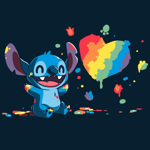 Paw Painting T-Shirt Disney TeeTurtle black T-shirt featuring Stitch from Lilo & Stitch covered in paint while painting a picture of a heart