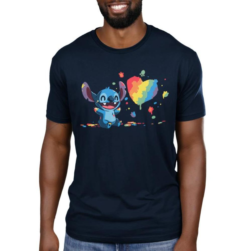 Paw Painting Men's black T-Shirt Model Disney TeeTurtle T-shirt featuring Stitch from Lilo & Stitch covered in paint while painting a picture of a heart