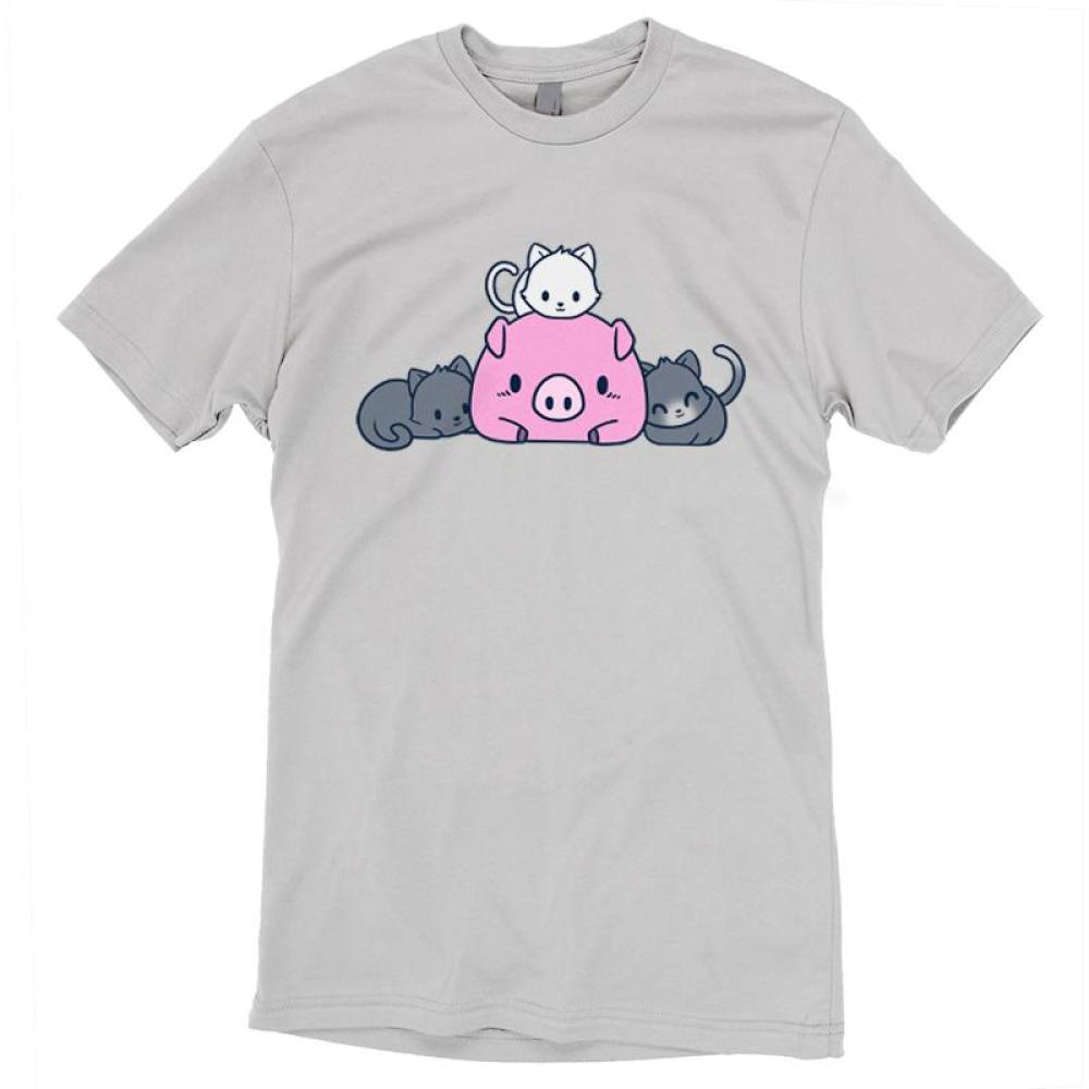 Pigs and Pals T-shirt TeeTurtle gray t-shirt featuring a pink pig with two gray cats laying beside it and a white cat laying on top of it