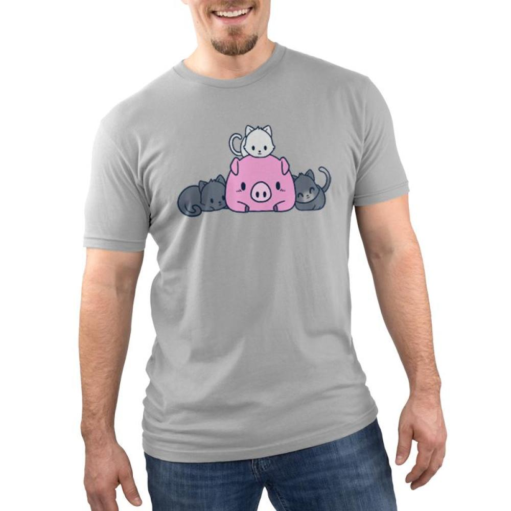 Pigs and Pals Men's T-shirt Model TeeTurtle gray t-shirt featuring a pink pig with two gray cats laying beside it and a white cat laying on top of it