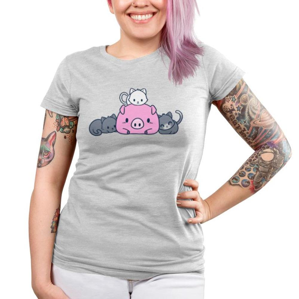 Pigs and Pals Juniors T-shirt Model TeeTurtle gray t-shirt featuring a pink pig with two gray cats laying beside it and a white cat laying on top of it