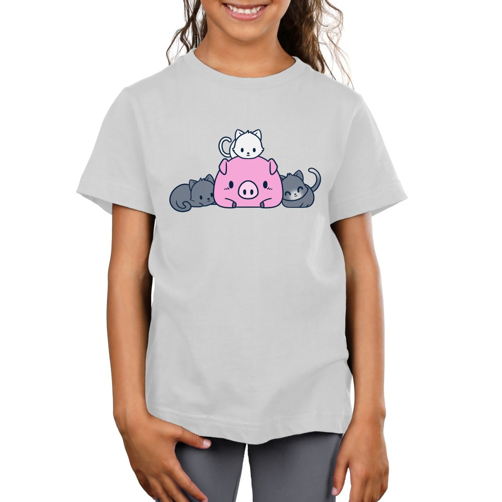 Pigs and Pals Kid's T-shirt model TeeTurtle gray t-shirt featuring a pink pig with two gray cats laying beside it and a white cat laying on top of it