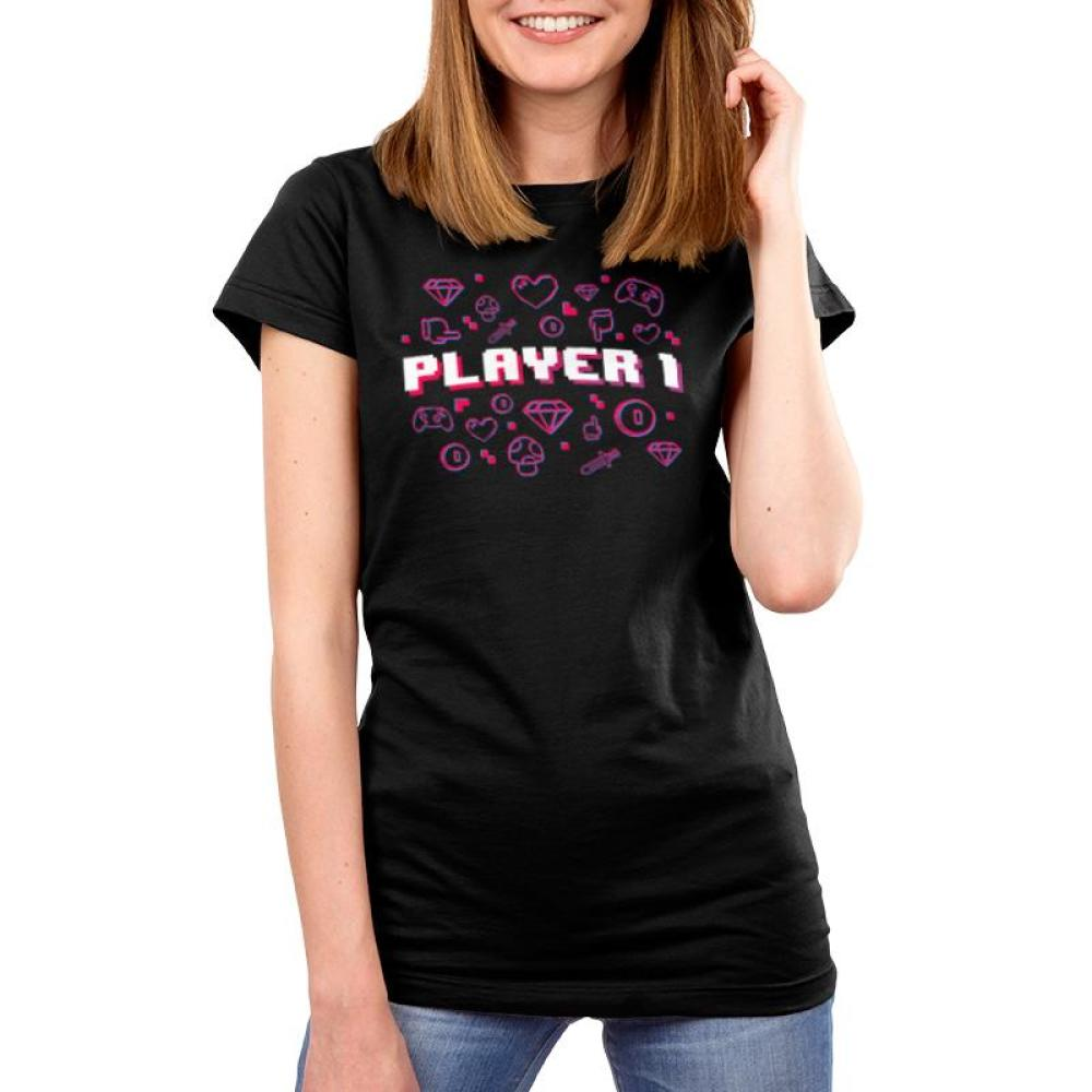 Player 1 Women's T-Shirt Model TeeTurtle Black t-shirt featuring shirt text