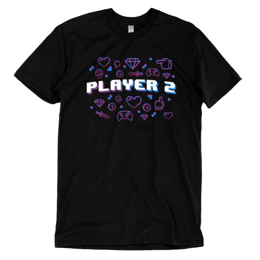 Player 2 T-Shirt TeeTurtle Black t-shirt featuring shirt text
