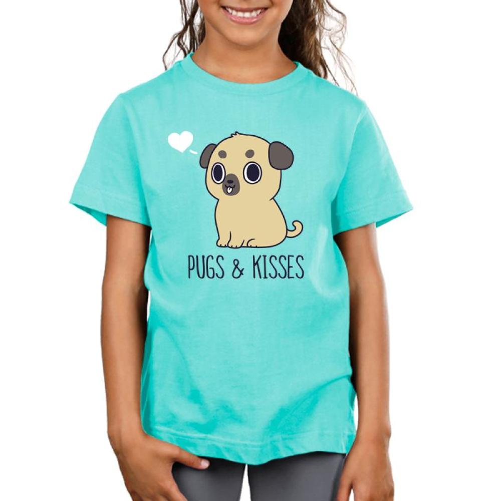 Pugs & Kisses Kids T-Shirt Model TeeTurtle blue t-shirt featuring a brown pug with his tongue sticking out and a white heart to the left of his head with shirt text