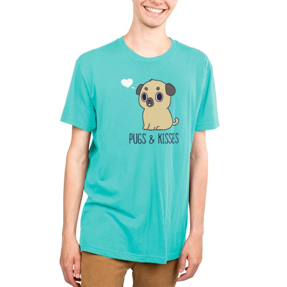 Pugs & Kisses Men's T-Shirt Model TeeTurtle blue t-shirt featuring a brown pug with his tongue sticking out and a white heart to the left of his head with shirt text