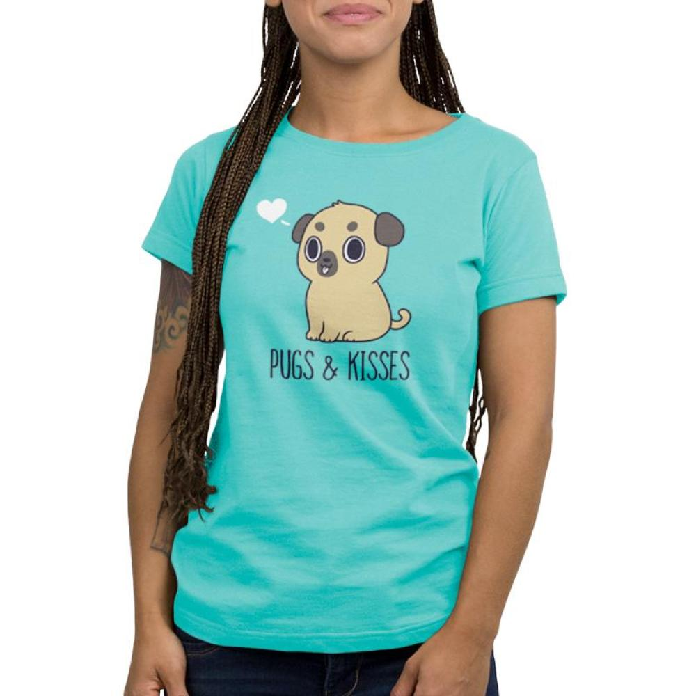 Pugs & Kisses Women's T-Shirt model TeeTurtle blue t-shirt featuring a brown pug with his tongue sticking out and a white heart to the left of his head with shirt text
