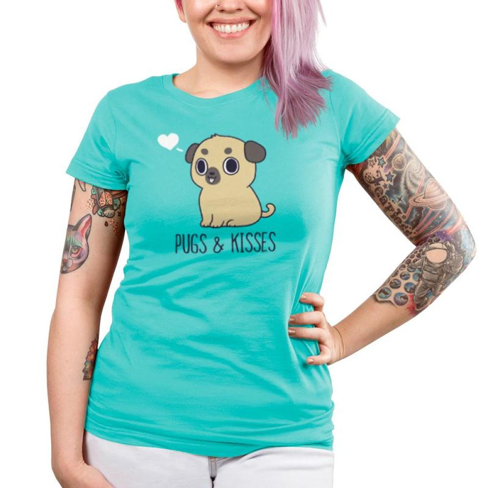 Pugs & Kisses Juniors T-Shirt Model TeeTurtle blue t-shirt featuring a brown pug with his tongue sticking out and a white heart to the left of his head with shirt text