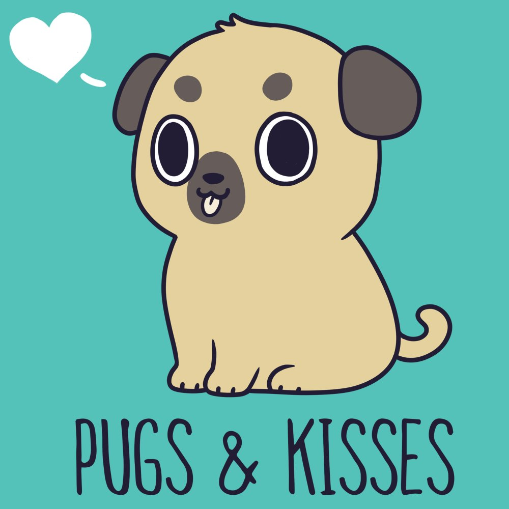 Pugs & Kisses T-Shirt TeeTurtle blue t-shirt featuring a brown pug with his tongue sticking out and a white heart to the left of his head with shirt text