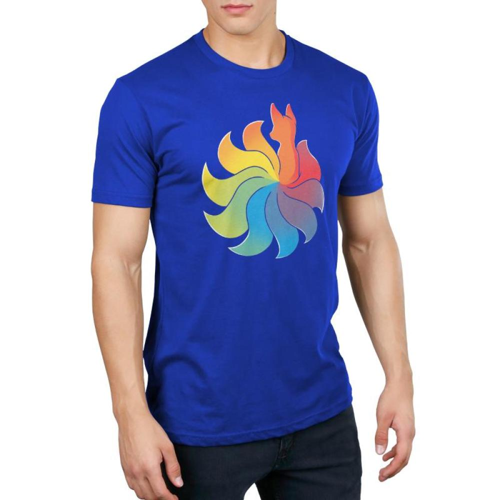 Rainbow Kitsune Men's T-Shirt Model TeeTurtle Blue T-Shirt with colorful animal with a large rainbow tail