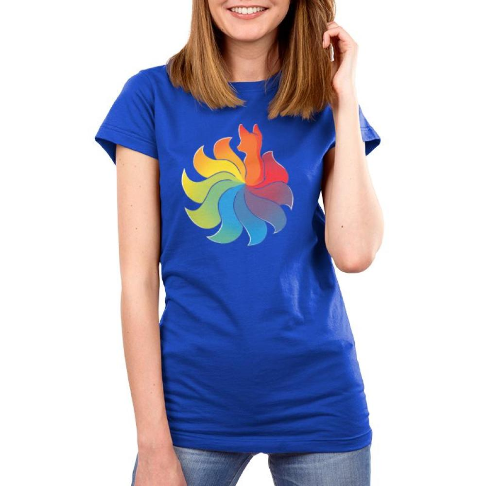Rainbow Kitsune Juniors T-Shirt Model TeeTurtle Blue T-Shirt with colorful animal with a large rainbow tail