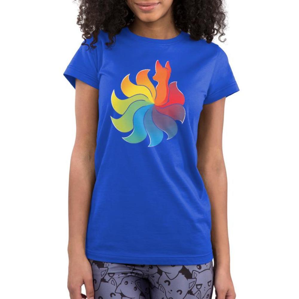Rainbow Kitsune Women's T-Shirt Model TeeTurtle Blue T-Shirt with colorful animal with a large rainbow tai