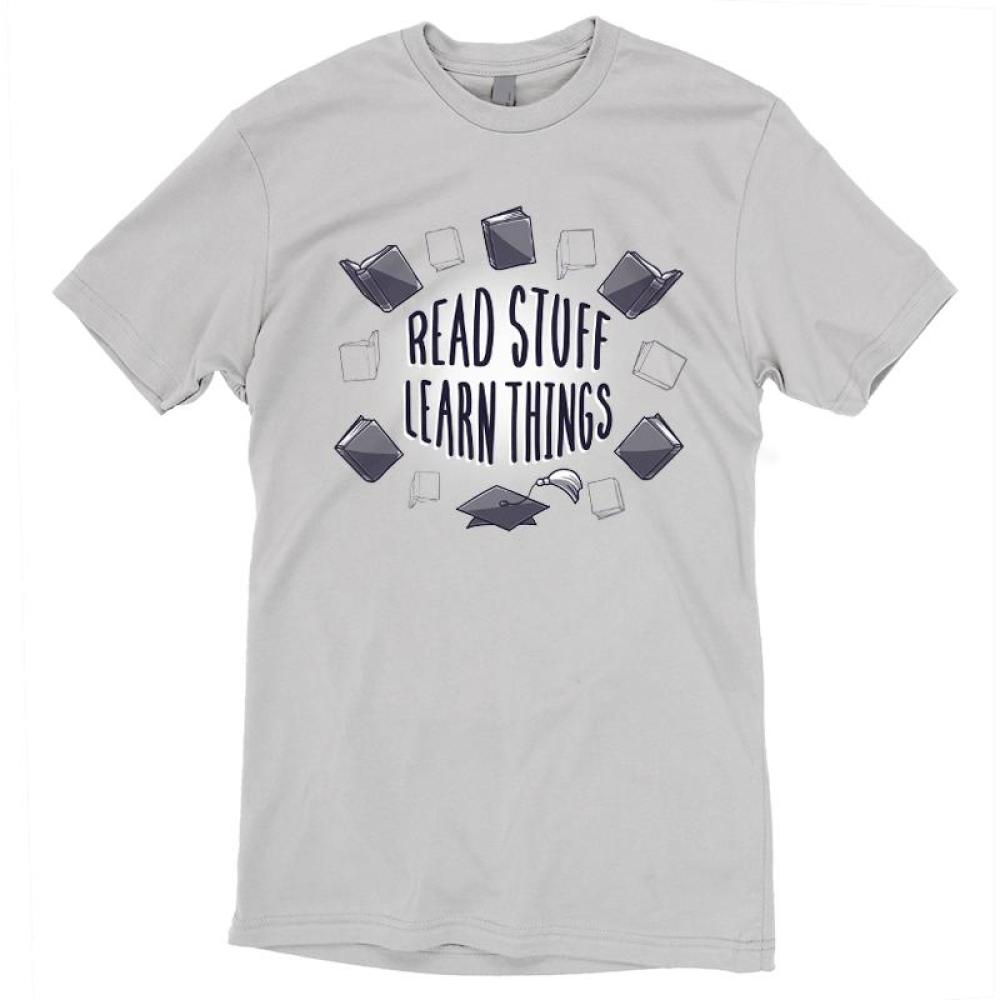 Read Stuff Learn Things T-shirt TeeTurtle gray t-shirt with shirt text