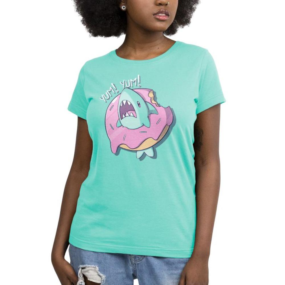 Shark Attack Women's T-shirt Model TeeTurtle Light Blue T-shirt featuring a shark inside of a donut with shirt test