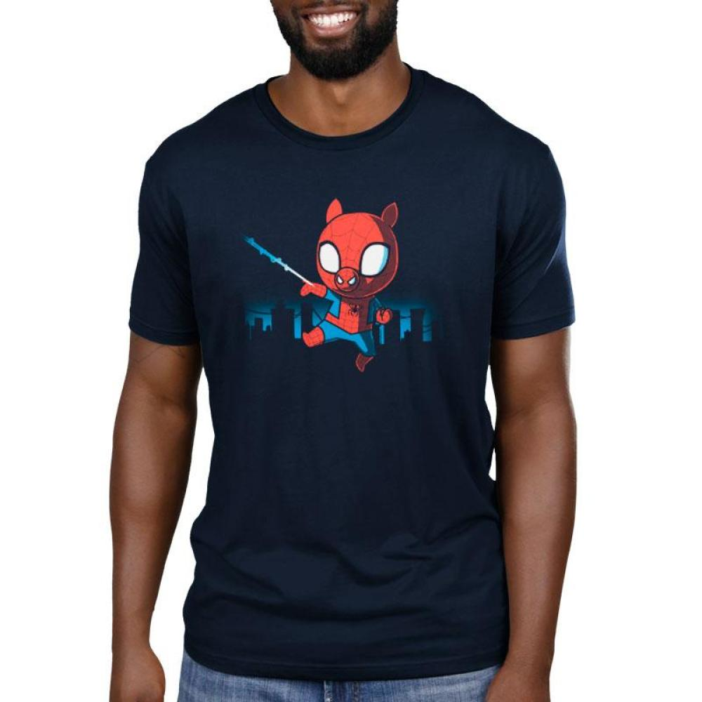 Spider-Ham Men's T-Shirt Model Marvel TeeTurtle black T-shirt featuring Spider-Ham swinging from a web with an outline of the city behind him