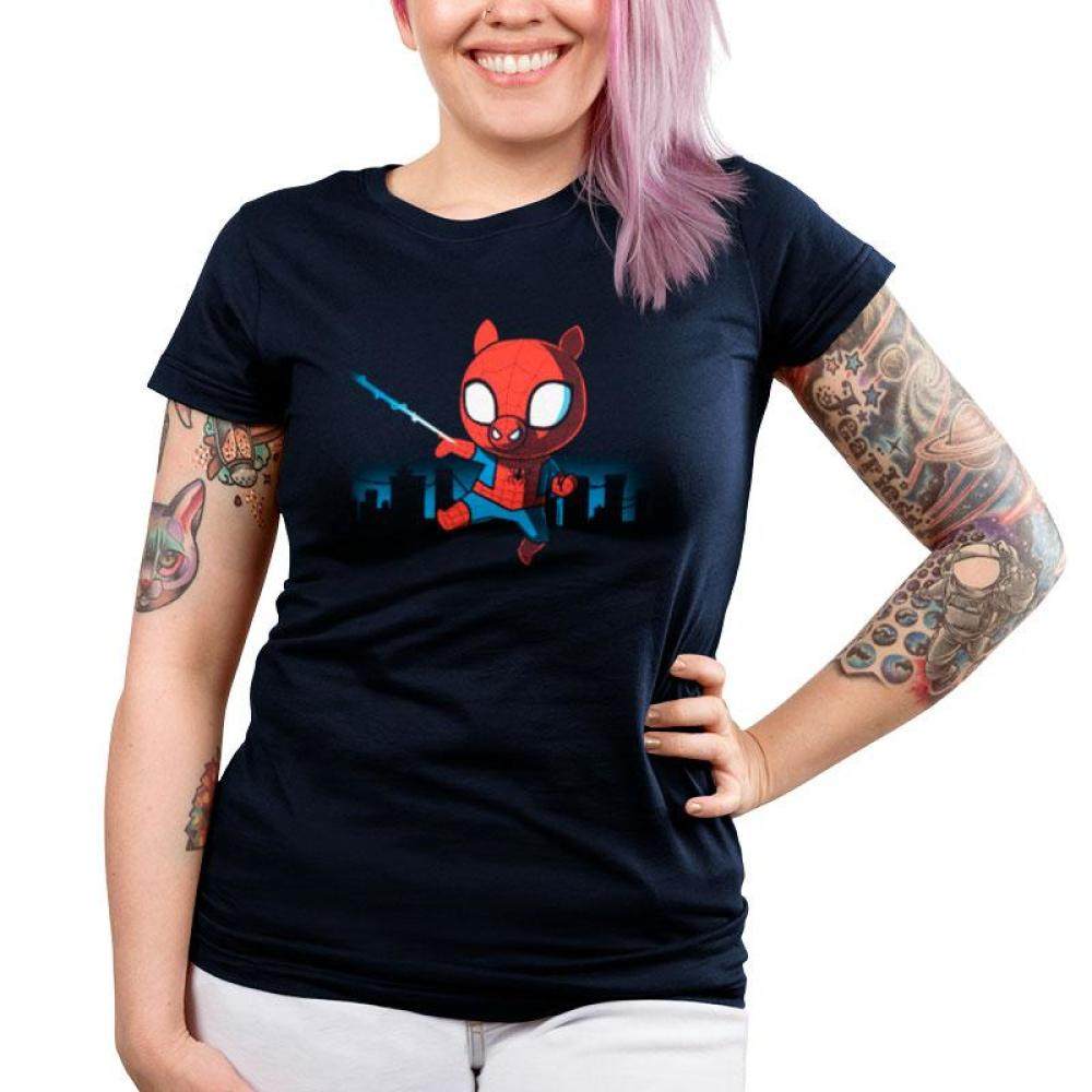 Spider-Ham Juniors T-Shirt Model Marvel TeeTurtle black T-shirt featuring Spider-Ham swinging from a web with an outline of the city behind him