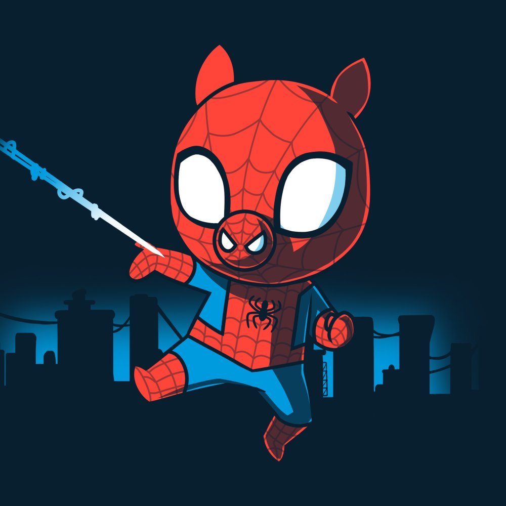Spider-Ham T-Shirt Marvel TeeTurtle black T-shirt featuring Spider-Ham swinging from a web with an outline of the city behind him