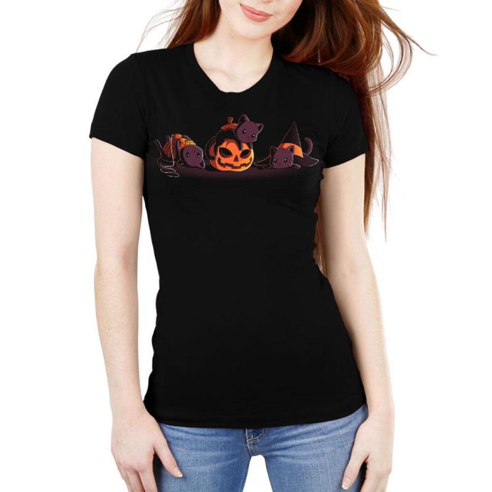 Spooky Kitties Women's Ultra Slim T-Shirt Model TeeTurtle