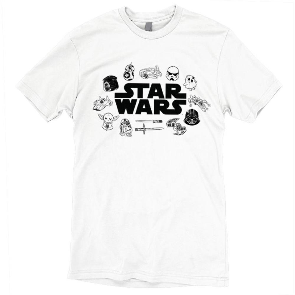 Star Wars Doodles T-Shirt Star Wars TeeTurtle white shirt with star wars logo in the center and several characters surrounding it including: darth vader, yoda, BB-8, storm troopers, etc.