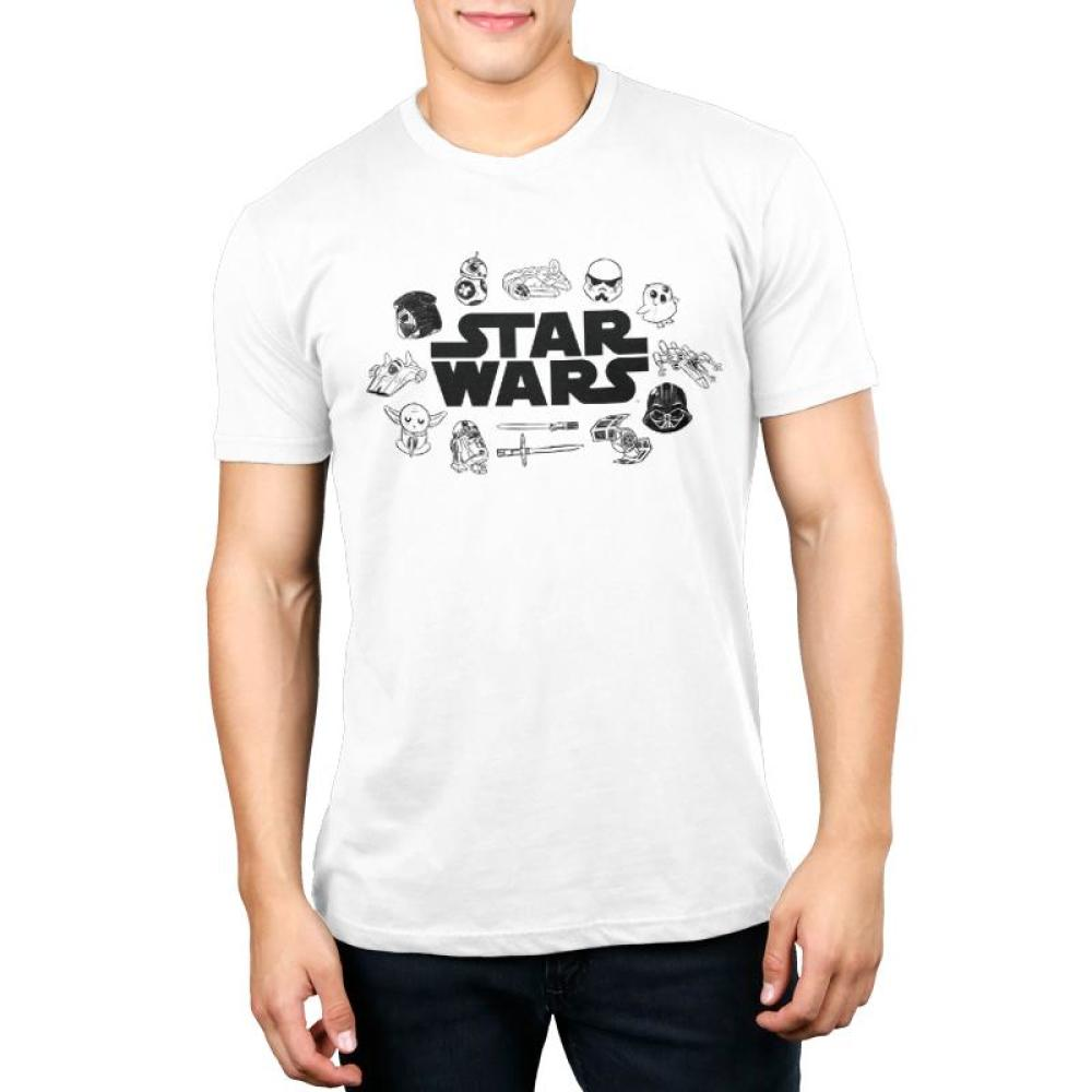 Star Wars Doodles Men's T-Shirt Model Star Wars TeeTurtle white shirt with star wars logo in the center and several characters surrounding it including: darth vader, yoda, BB-8, storm troopers, etc.