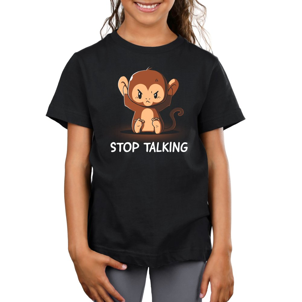 Stop Talking Kids T-shirt Model TeeTurtle black t-shirt featuring an angry monkey covering his ears with shirt text