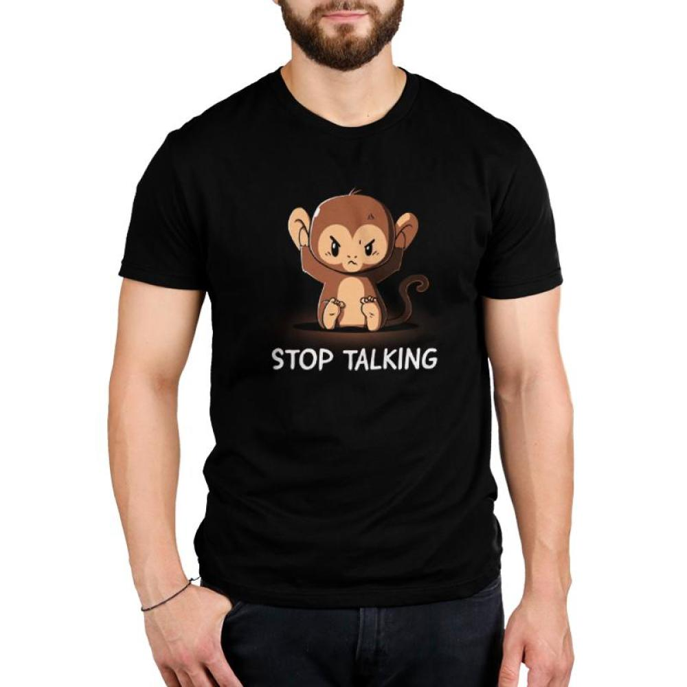 Stop Talking Men's T-shirt Model TeeTurtle black t-shirt featuring an angry monkey covering his ears with shirt text