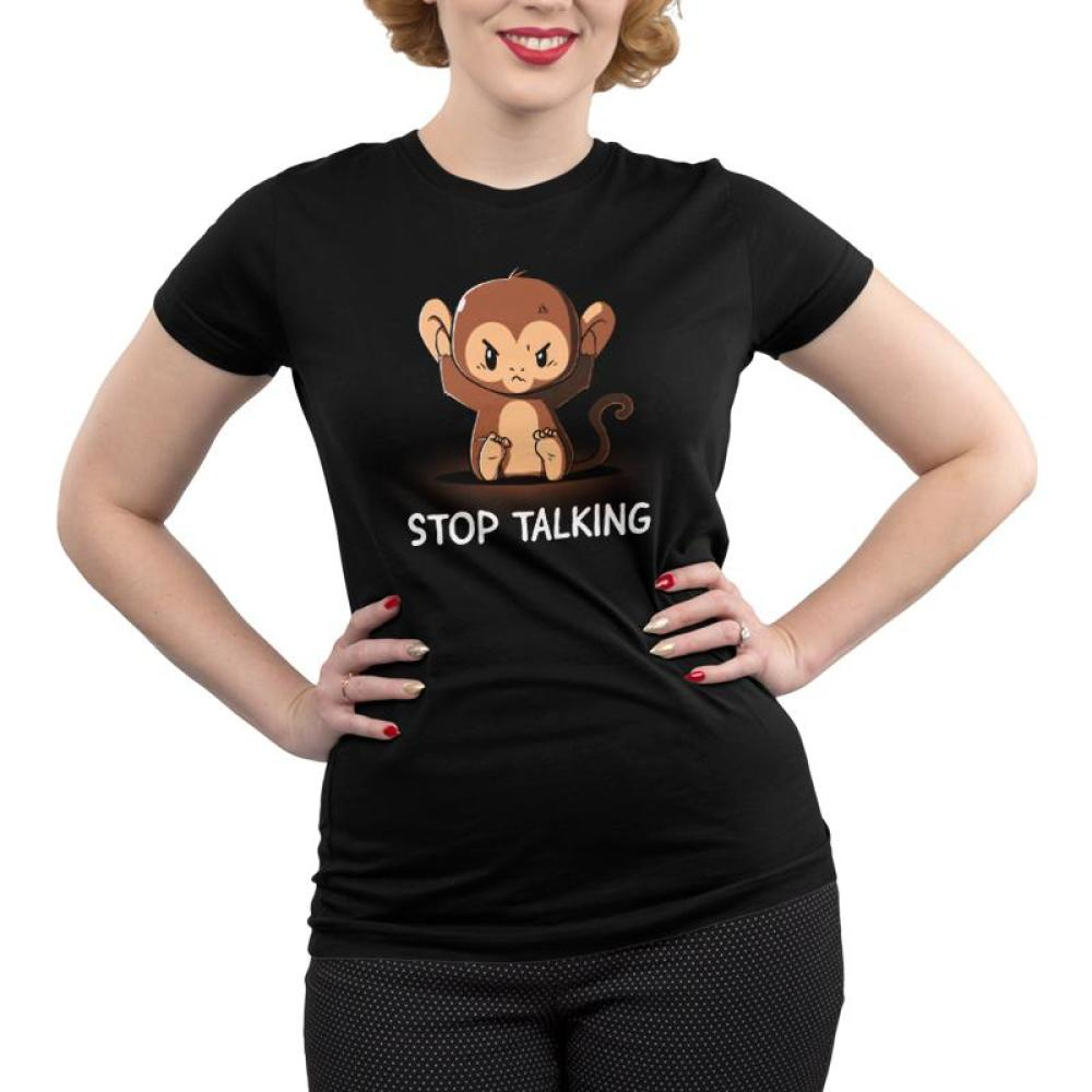 Stop Talking Juniors T-shirt Model TeeTurtle black t-shirt featuring an angry monkey covering his ears with shirt text
