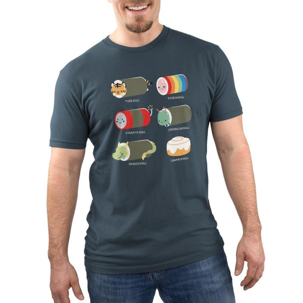 Sushi Rolls Men's T-shirt model TeeTurtle Gray t-shirt featuring 5 sushi roll characters with 1 cinnamon roll and shirt text