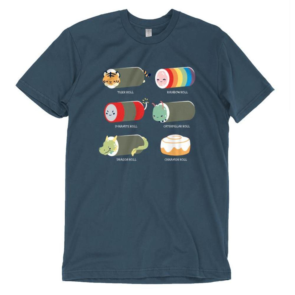 Sushi Rolls T-shirt TeeTurtle Gray t-shirt featuring 5 sushi roll characters with 1 cinnamon roll and shirt text