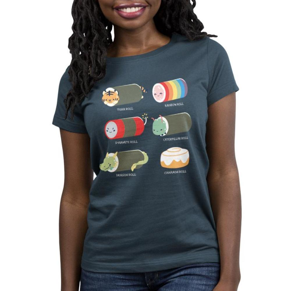 Sushi Rolls Women's T-shirt model TeeTurtle Gray t-shirt featuring 5 sushi roll characters with 1 cinnamon roll and shirt text
