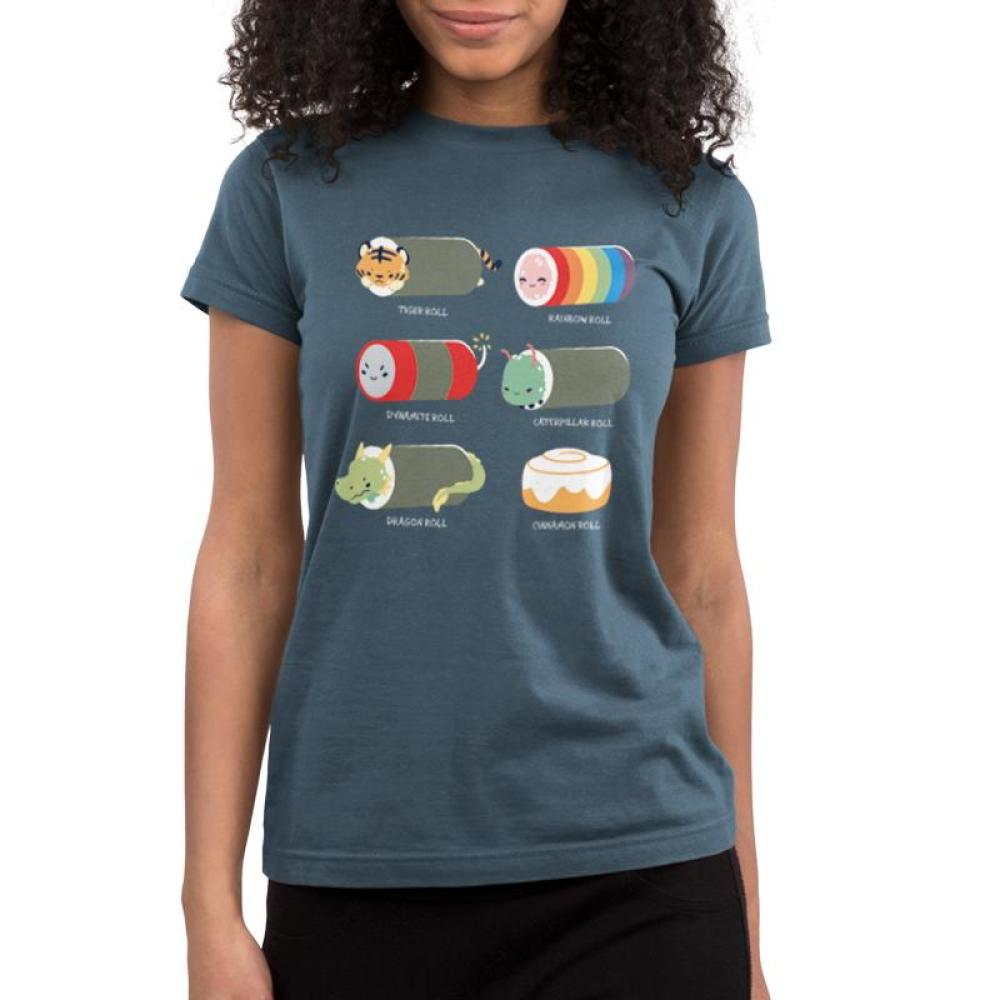 Sushi Rolls Juniors T-shirt model TeeTurtle Gray t-shirt featuring 5 sushi roll characters with 1 cinnamon roll and shirt text