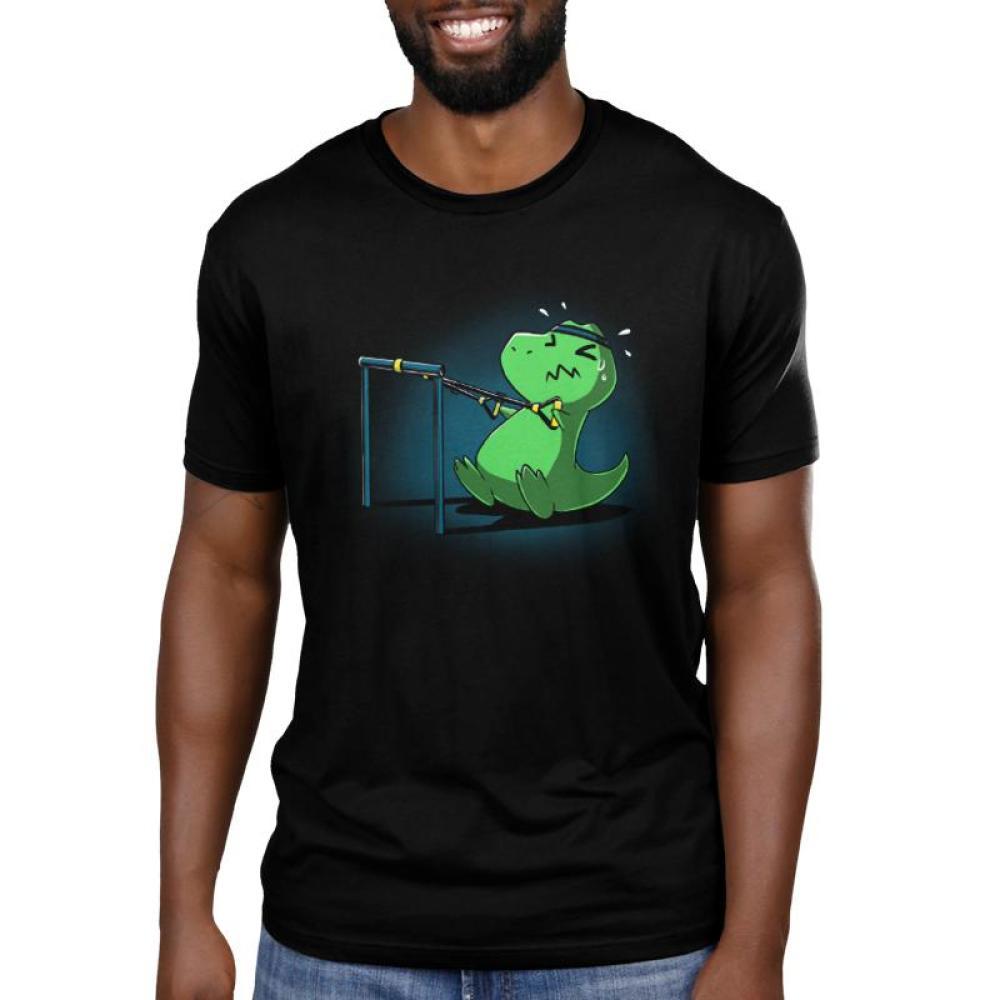 TRX Men's T-shirt model TeeTurtle black t-shirt featuring a t-rex wearing a headband and using a TRX machine
