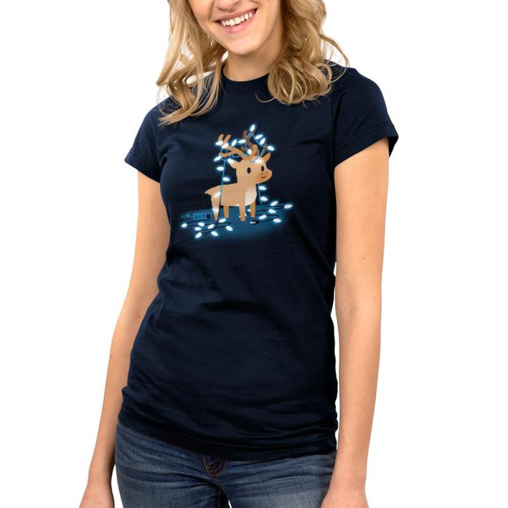 Tangled Up Reindeer Women's T-Shirt model TeeTurtle blue t-shirt with a brown reindeer tangled up in Christmas lights