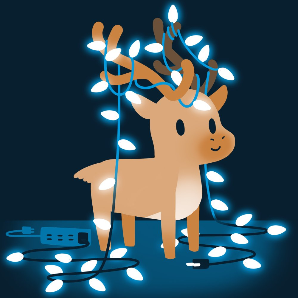 Tangled Up Reindeer T-Shirt TeeTurtle blue t-shirt with a brown reindeer tangled up in Christmas lights