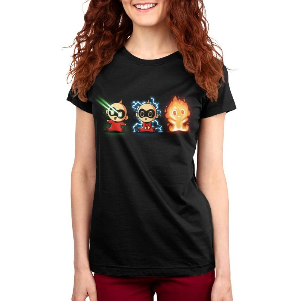 The Incredible Jack Jack Women's T-shirt Model Disney TeeTurtle black t-shirt featuring three images of Jack Jack displaying various super powers