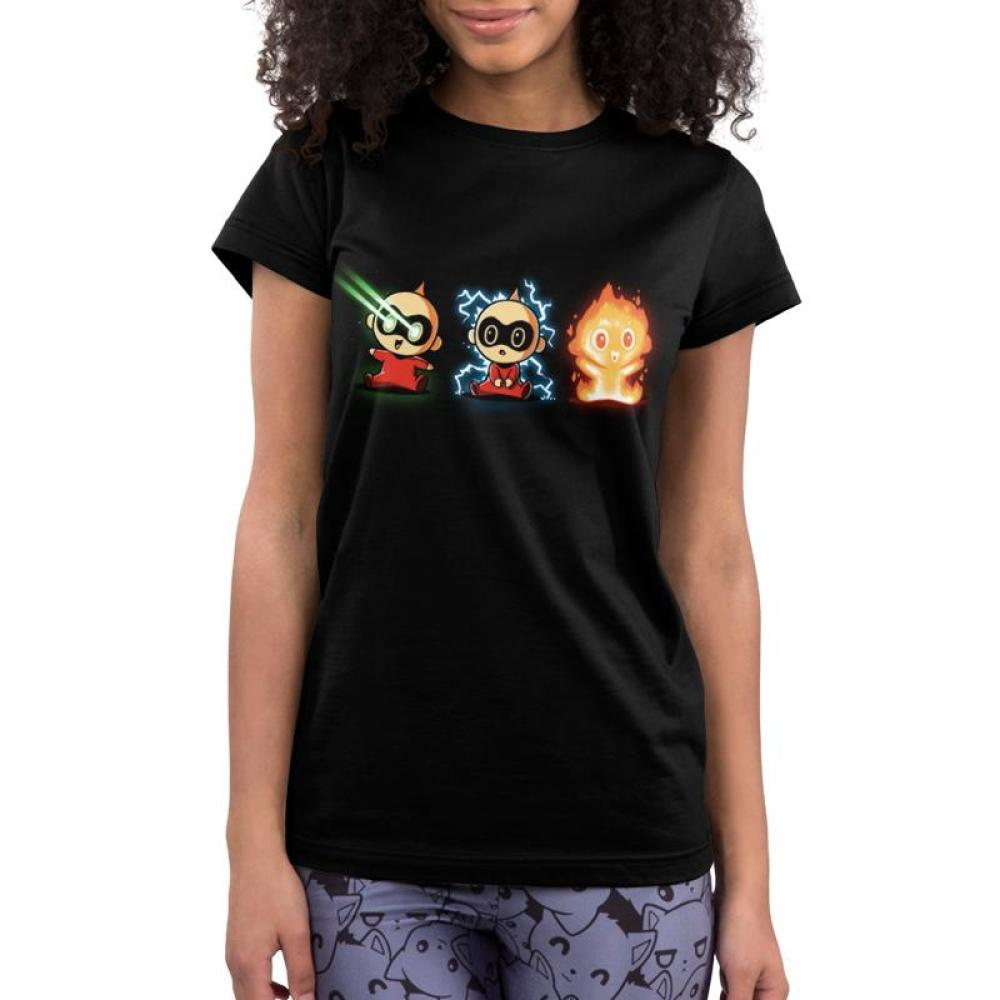 The Incredible Jack Jack Juniors T-shirt Model Disney TeeTurtle black t-shirt featuring three images of Jack Jack displaying various super powers
