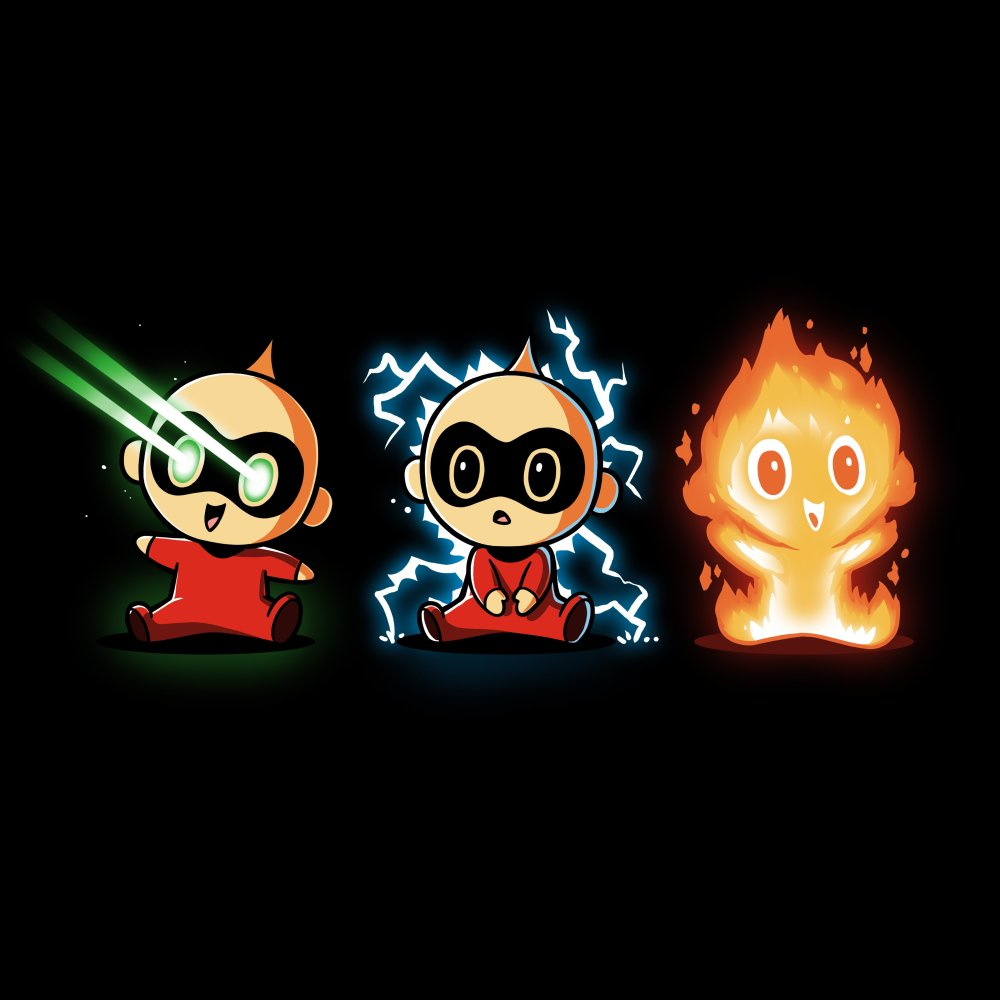 The Incredible Jack Jack T-shirt Disney TeeTurtle black t-shirt featuring three images of Jack Jack displaying various super powers