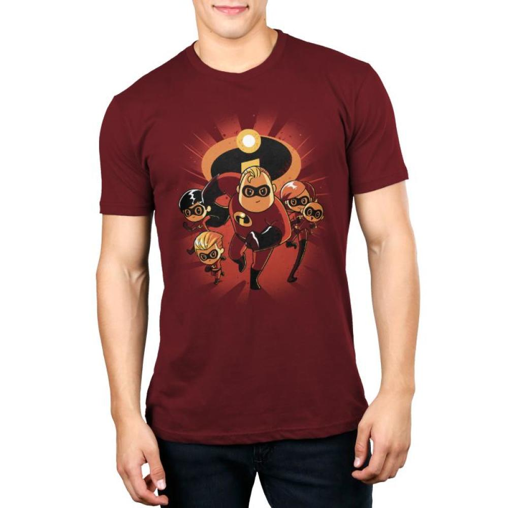 The Incredibles Family Men's T-shirt model Disney TeeTurtle featuring all of the Parr family members with the Incredibles logo in the background