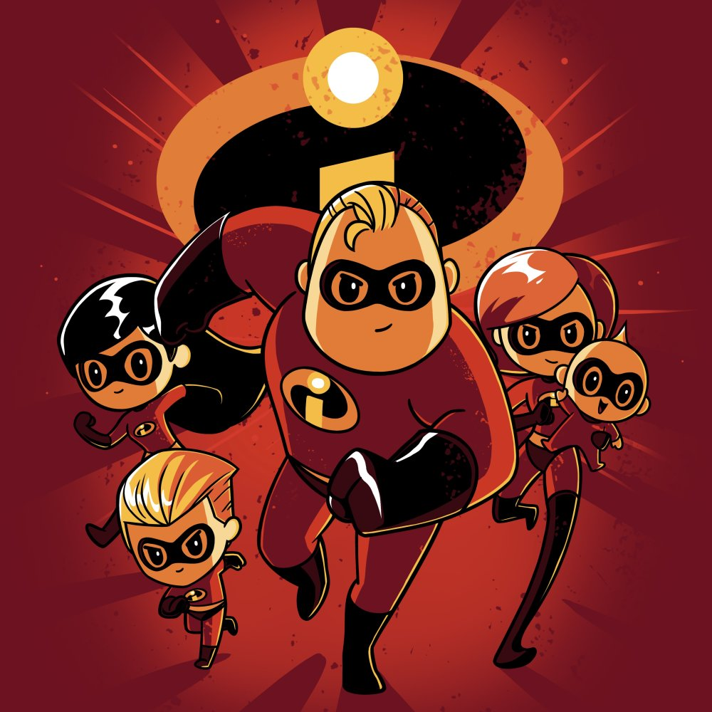The Incredibles Family T-shirt Disney TeeTurtle featuring all of the Parr family members with the Incredibles logo in the background