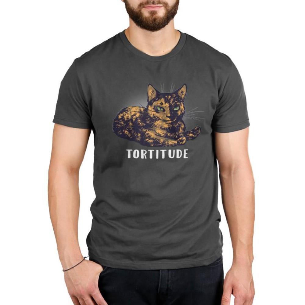 Tortitude Men's T-shirt model TeeTurtle gray t-shirt featuring a brown cat with shirt text