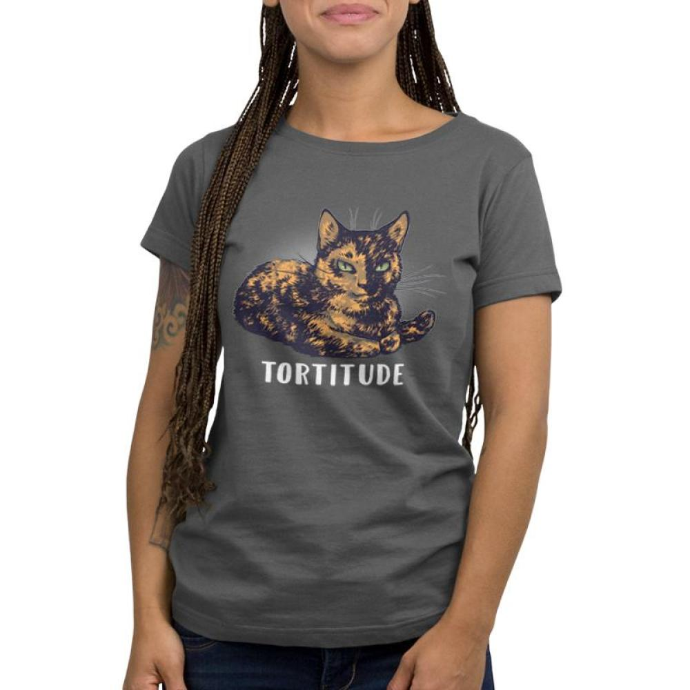 Tortitude women's T-shirt model TeeTurtle gray t-shirt featuring a brown cat with shirt text